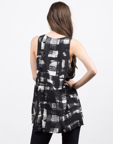 Back View of Painted Grid Sleeveless Top