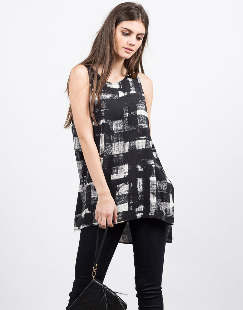 Painted Grid Sleeveless Top - 2020AVE