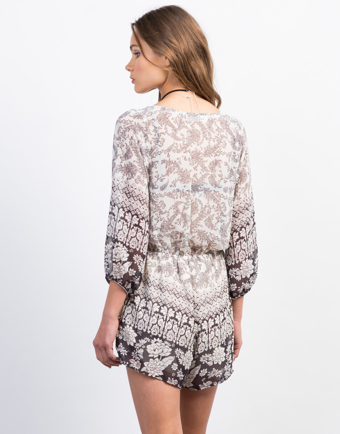 Back View of Paisley Floral Chiffon Romper