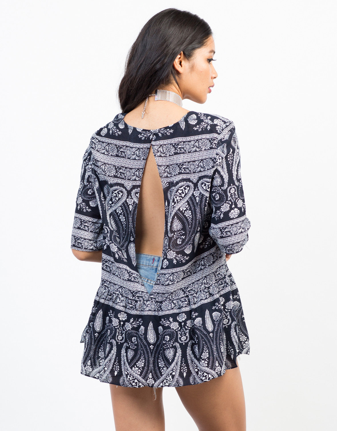 Back View of Paisley Vacay Top