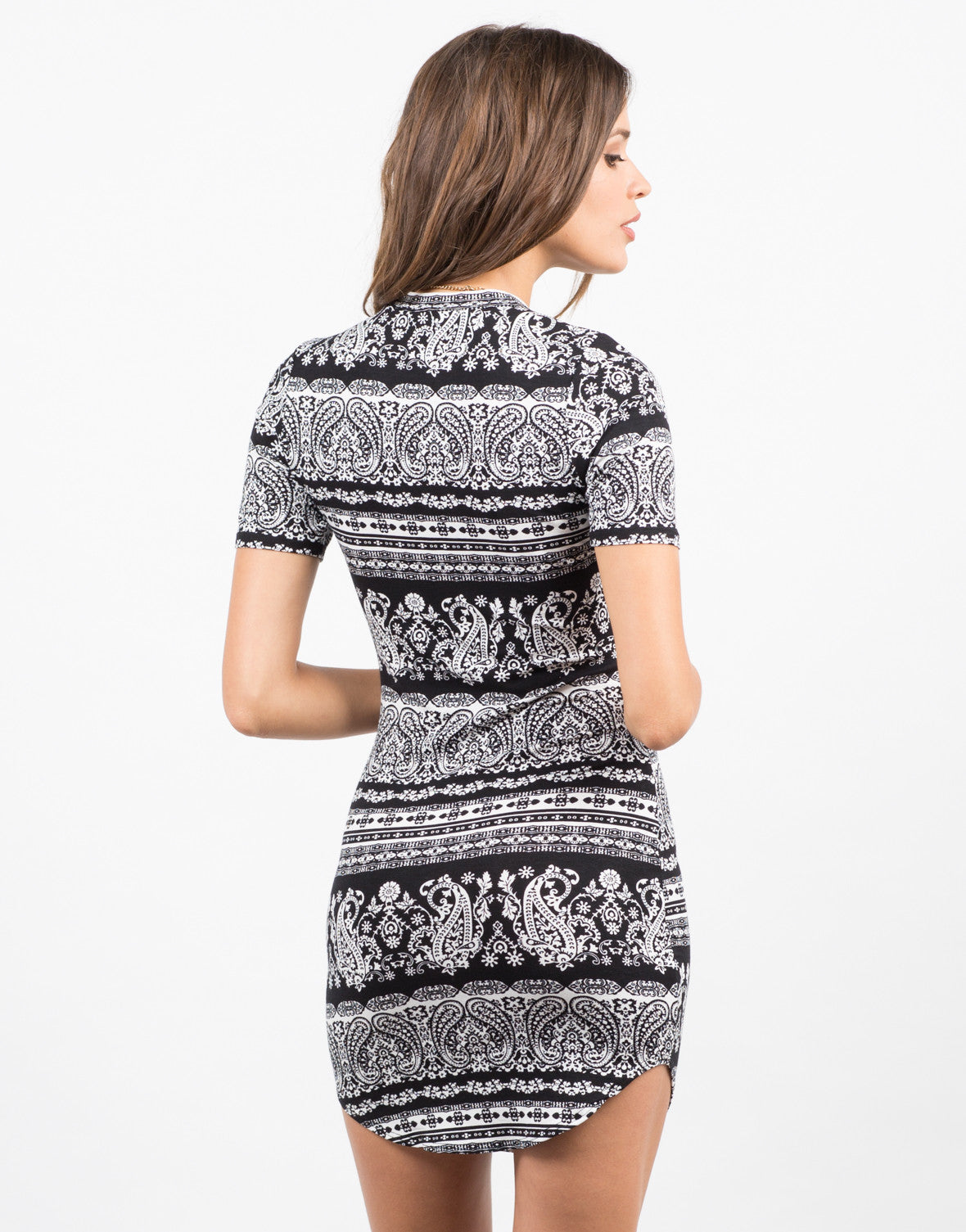 Back View of Paisley Printed Dress