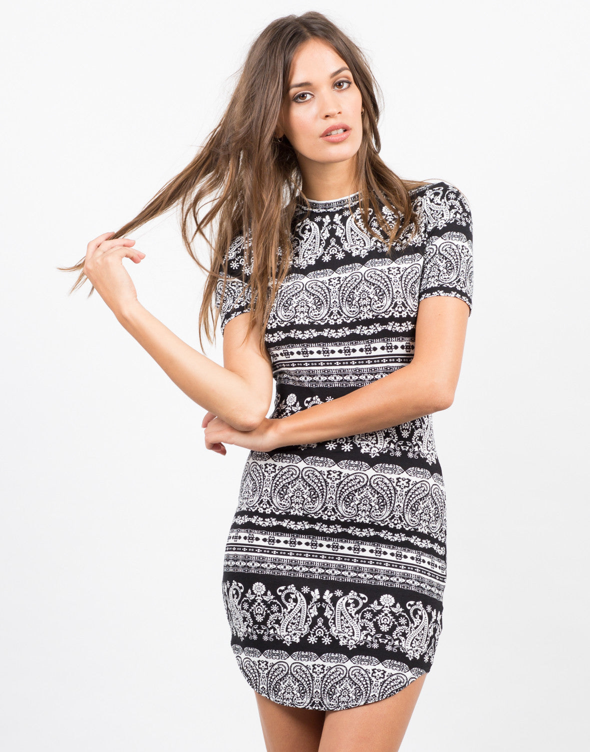 Front View of Paisley Printed Dress