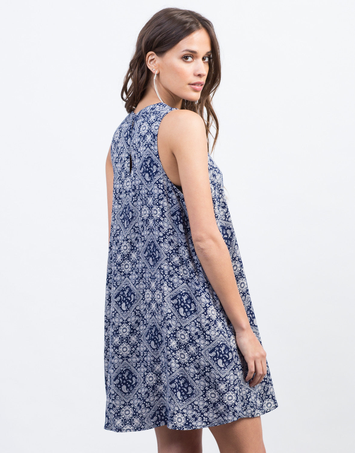 Back View of Paisley Shift Dress