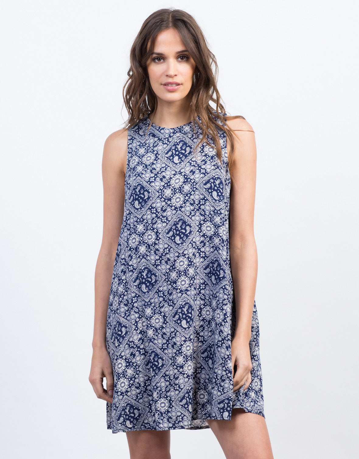 Front View of Paisley Shift Dress