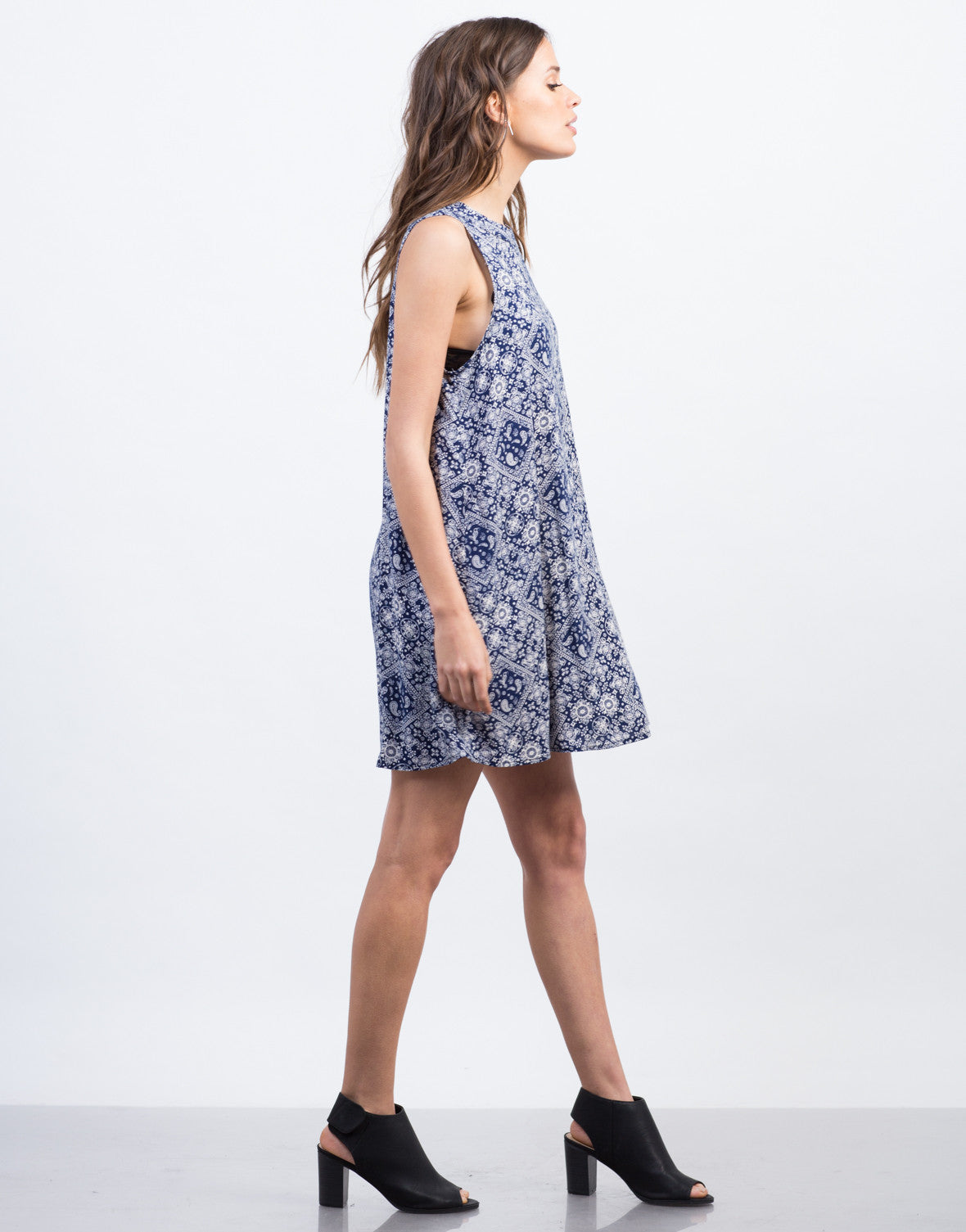 Side View of Paisley Shift Dress