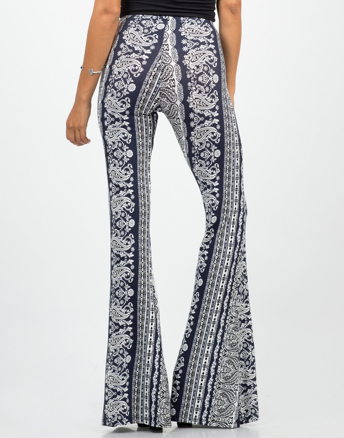 Back View of Paisley Stretchy Flared Pants