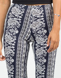 Detail of Paisley Stretchy Flared Pants