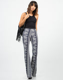 Front View of Paisley Stretchy Flared Pants