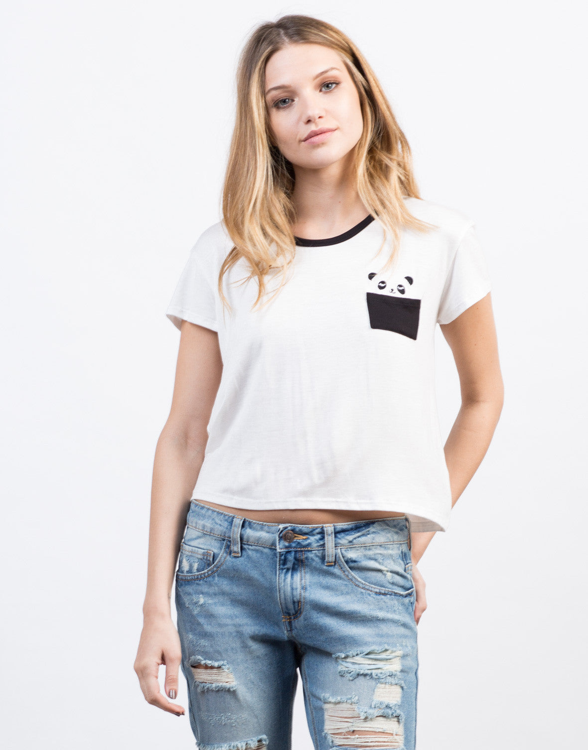 Front View of Panda Pocket Contrast Tee