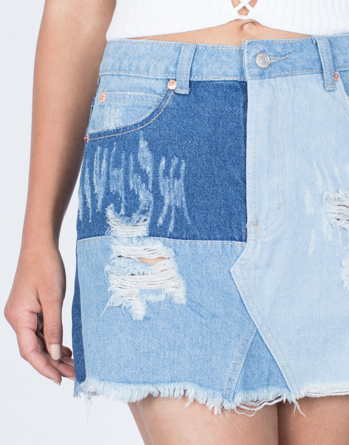 Detail of Patch that Denim Skirt