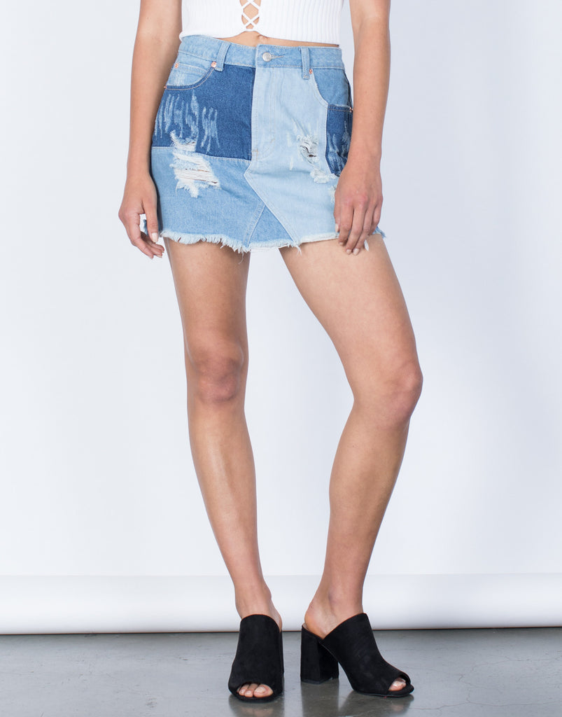 Front View of Patch that Denim Skirt