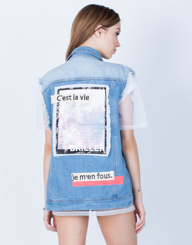 Back View of Patched Denim Vest
