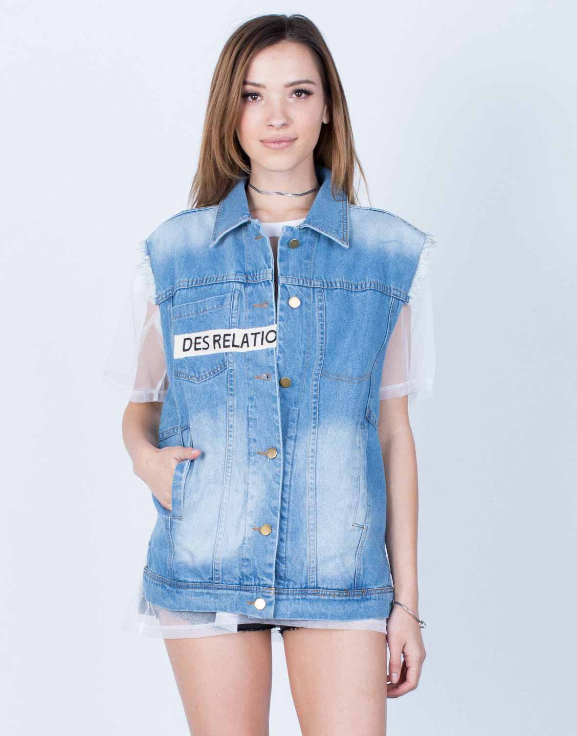 Front View of Patched Denim Vest