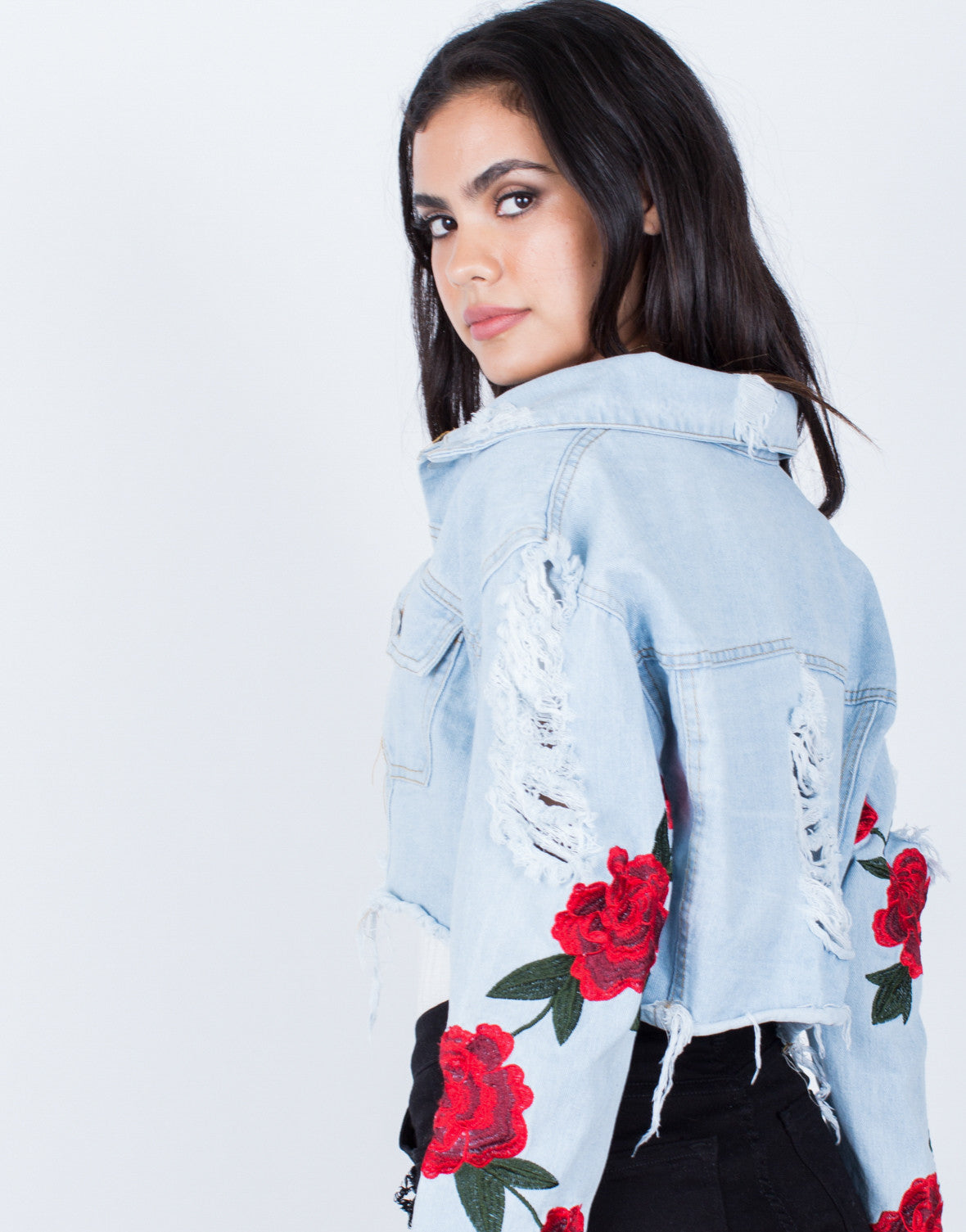 Detail of Patched Sleeves Crop Denim Jacket