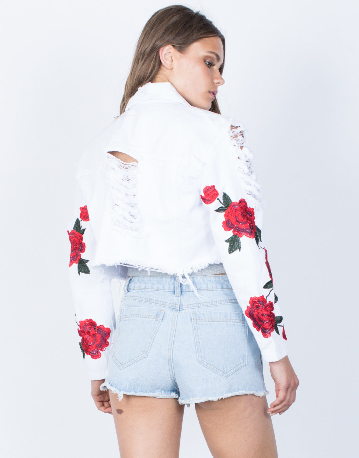 Back View of Patched Sleeves Crop Denim Jacket