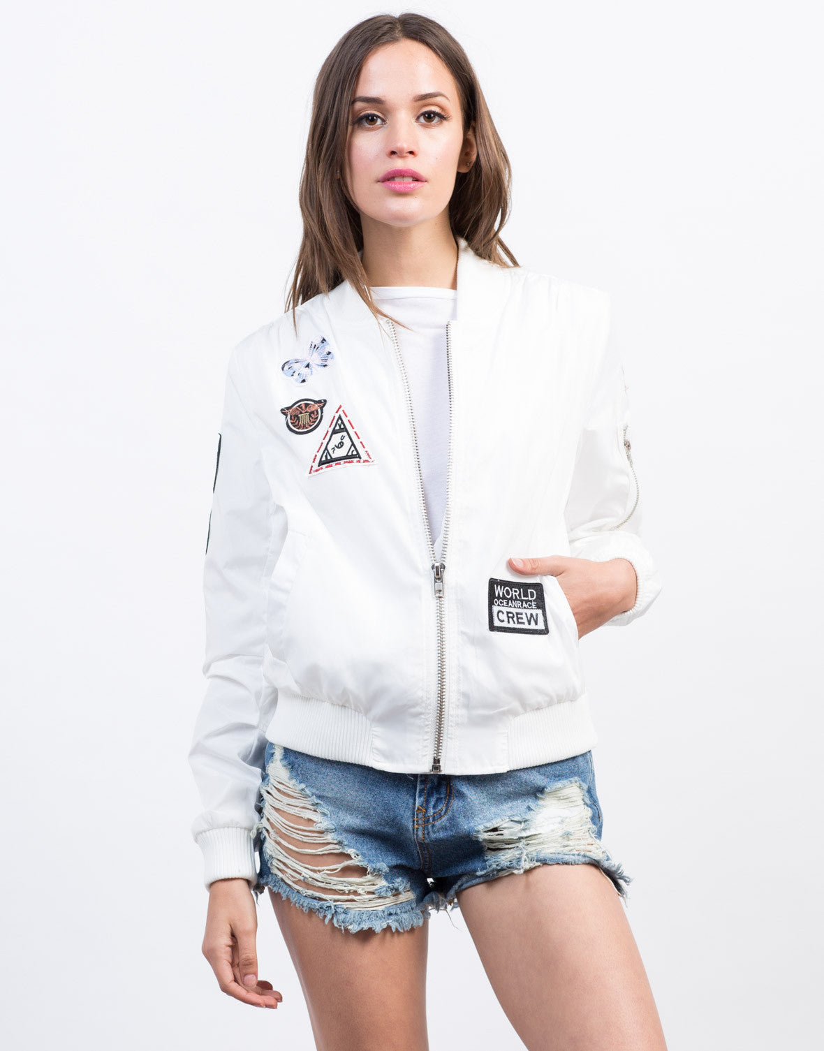 Front View of Patched Up Bomber Jacket