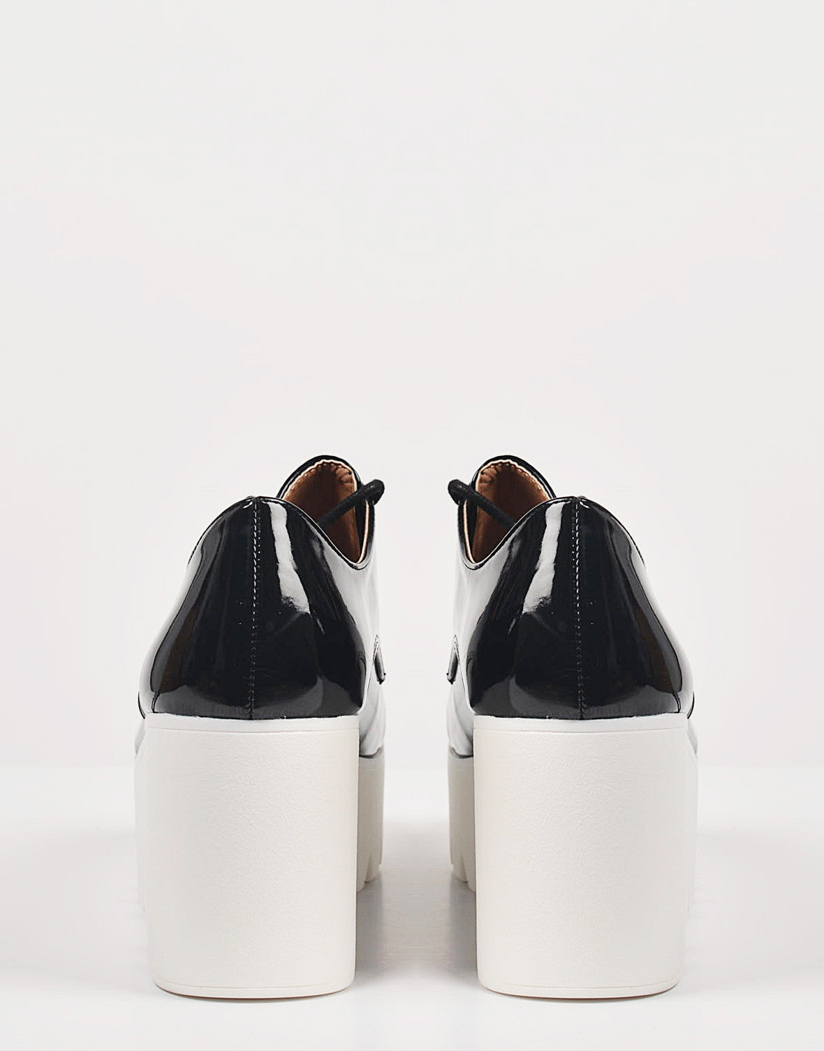 Back View of Patent Laced Up Flatform Oxfords