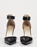 Front View of Patent Pointy Toe Ankle Strapped Pumps