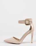 Side View of Patent Pointy Toe Ankle Strapped Pumps