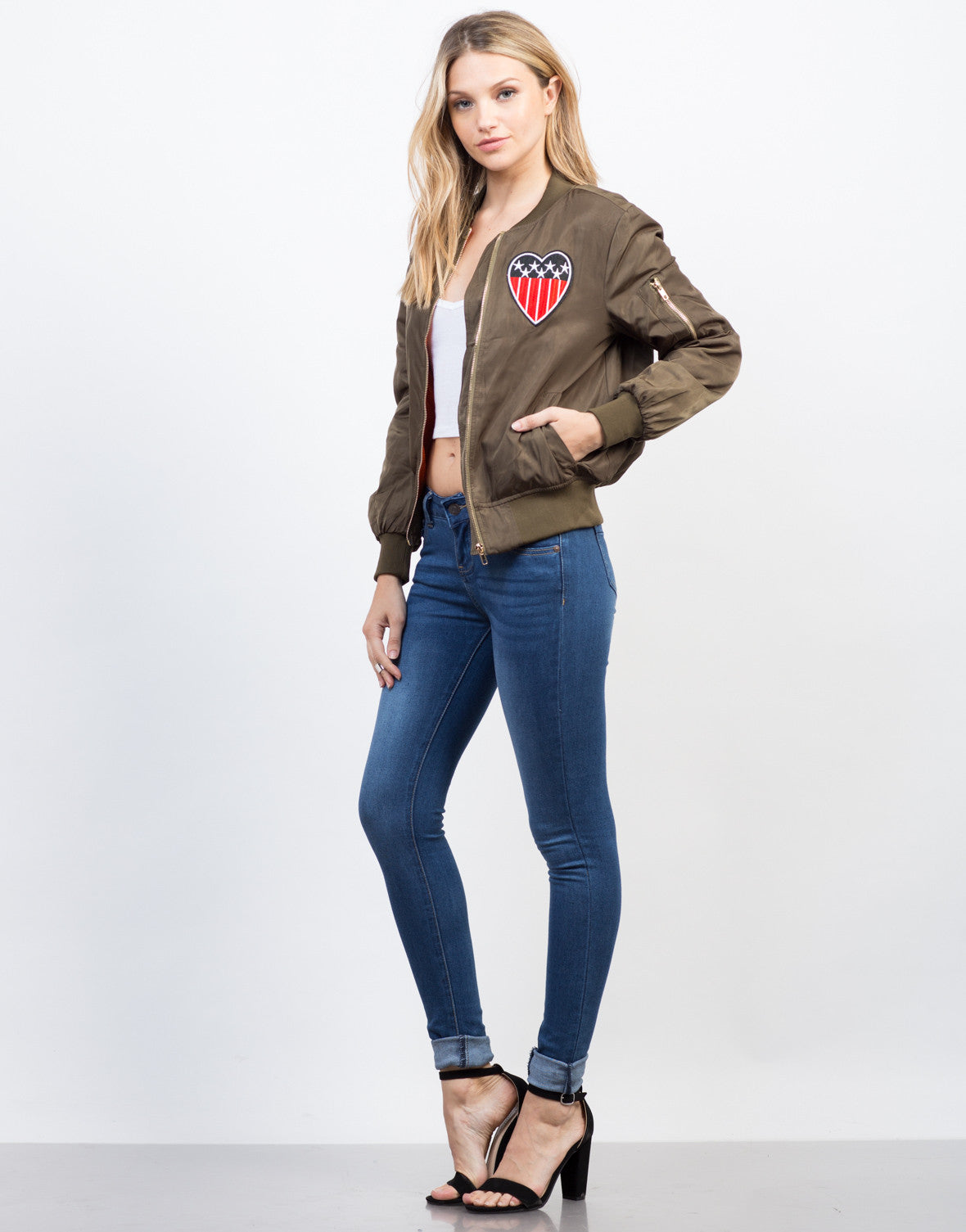 Side View of Patriotic Bomber Jacket