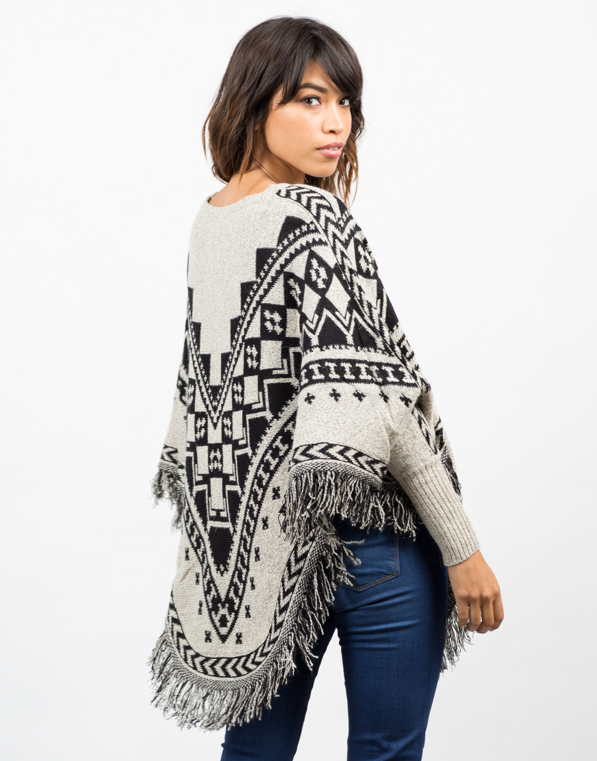 Back View of Patterned Fringe Poncho
