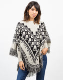 Front View of Patterned Fringe Poncho