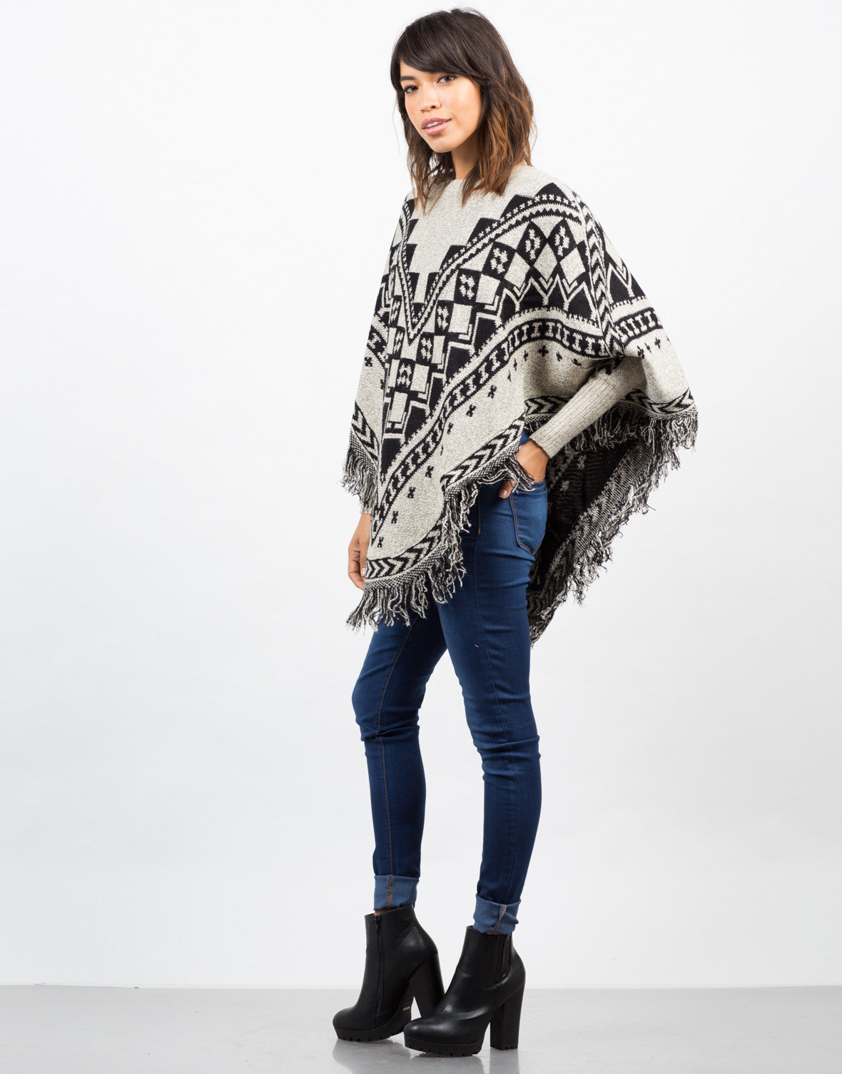 Side View of Patterned Fringe Poncho