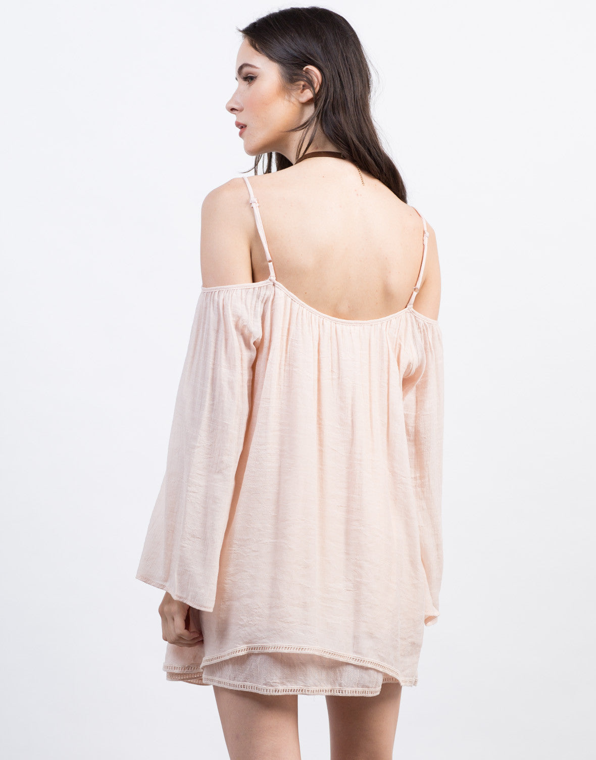 Back View of Peachy Cold Shoulder Dress