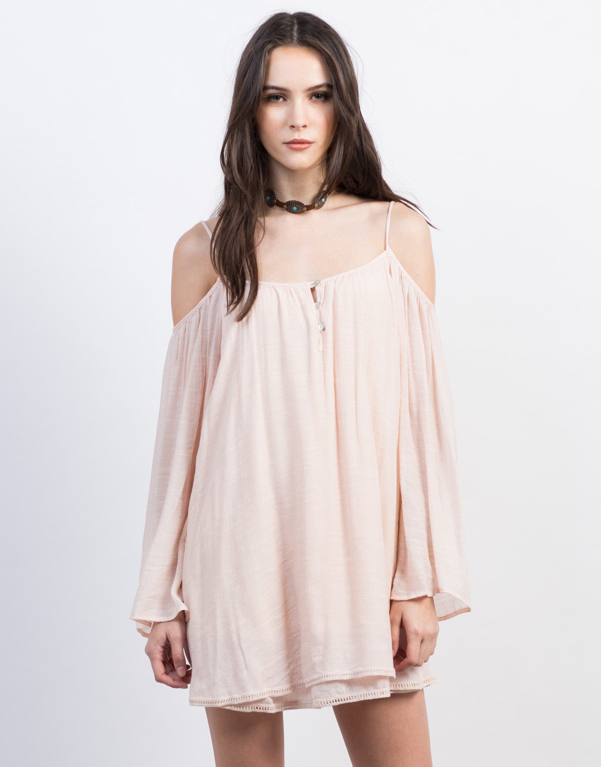 Front View of Peachy Cold Shoulder Dress