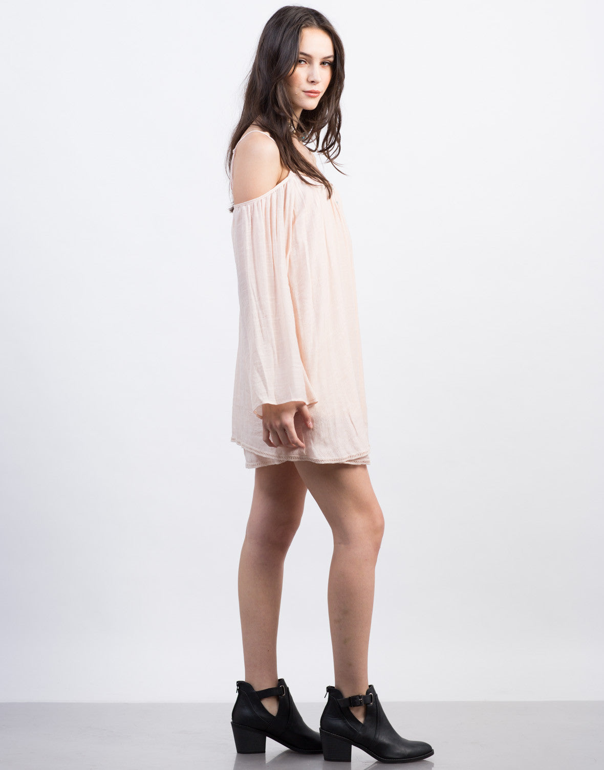 Side View of Peachy Cold Shoulder Dress