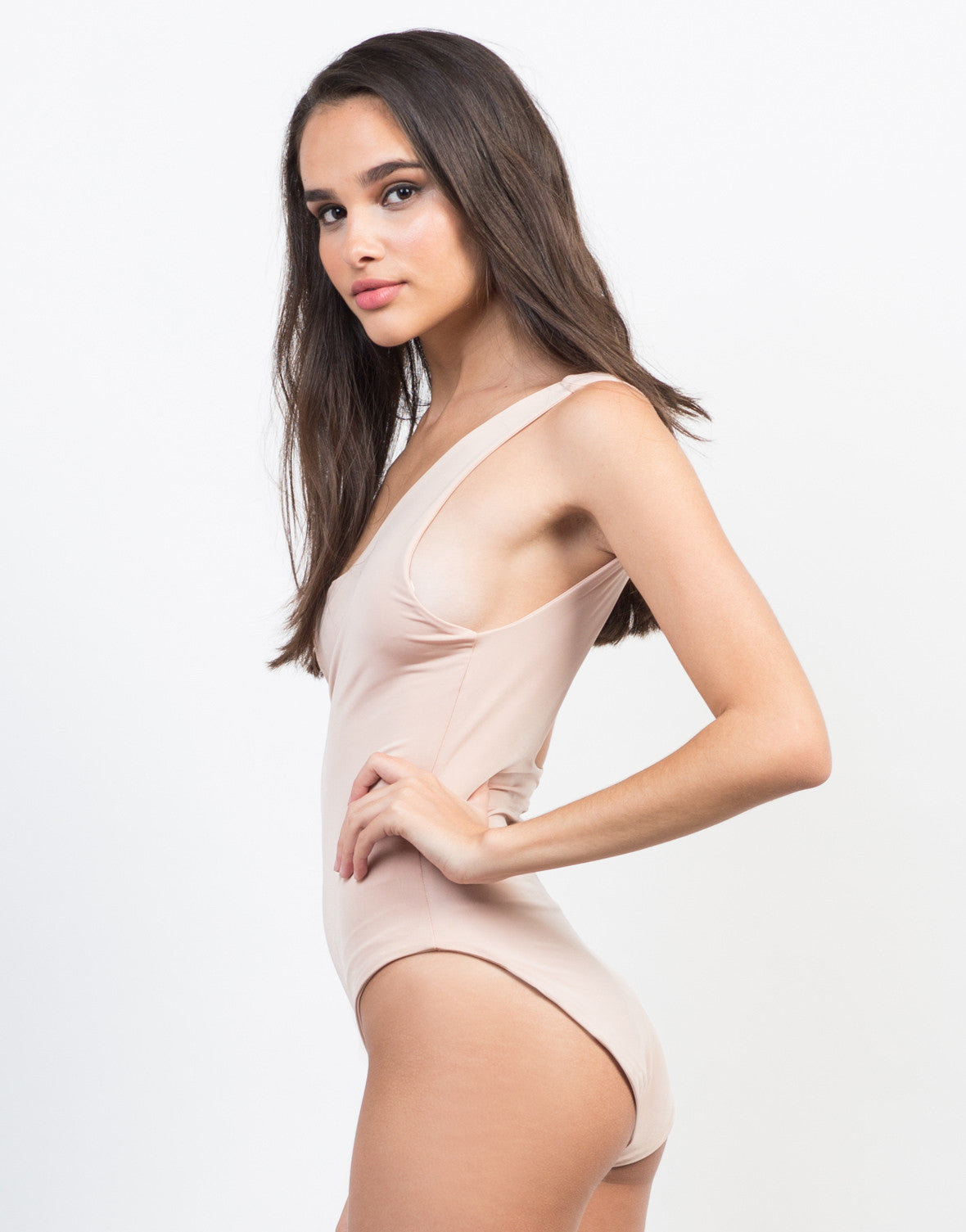 Side View of Peachy Keen Bodysuit