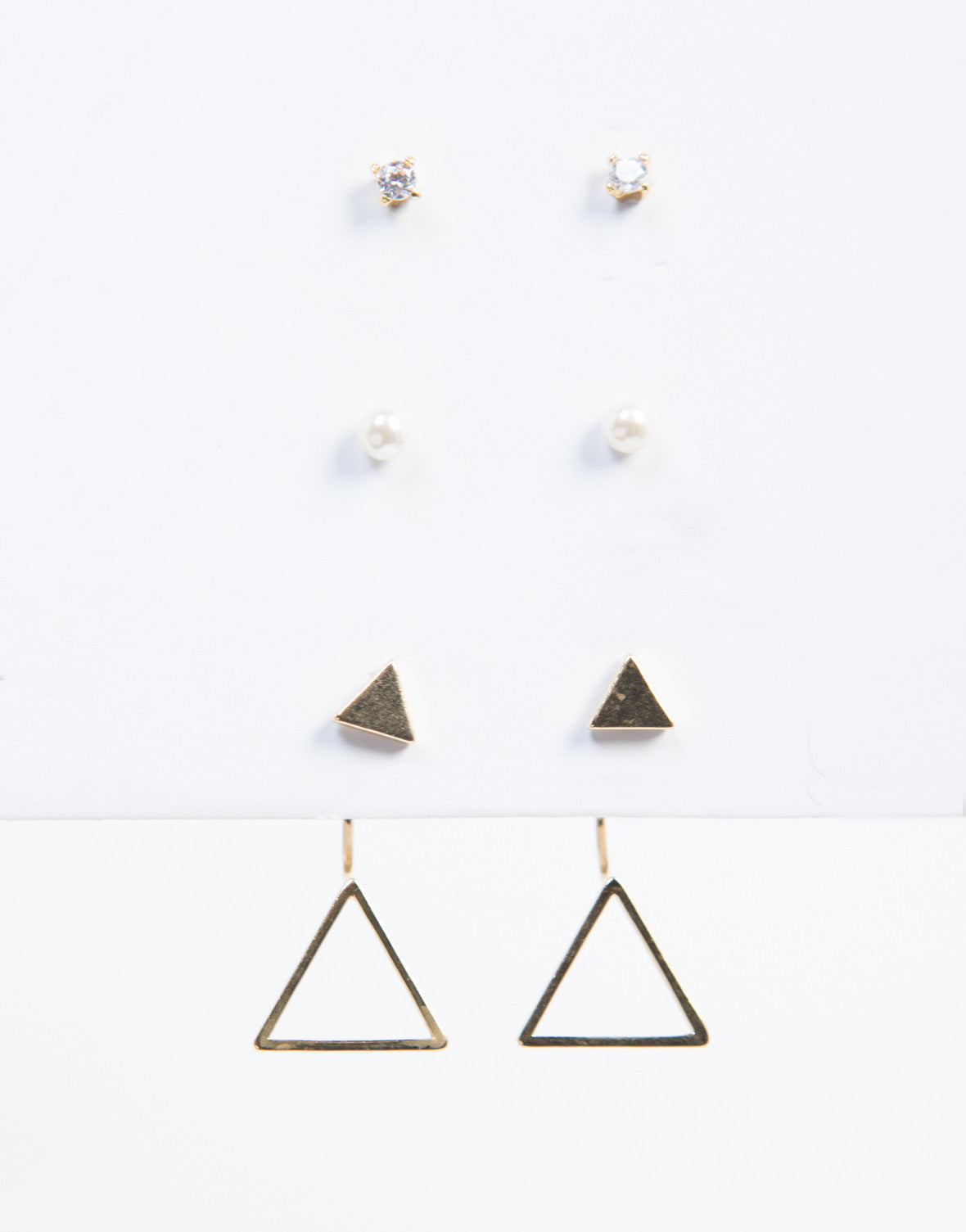 Pearly Triangle Earring Set