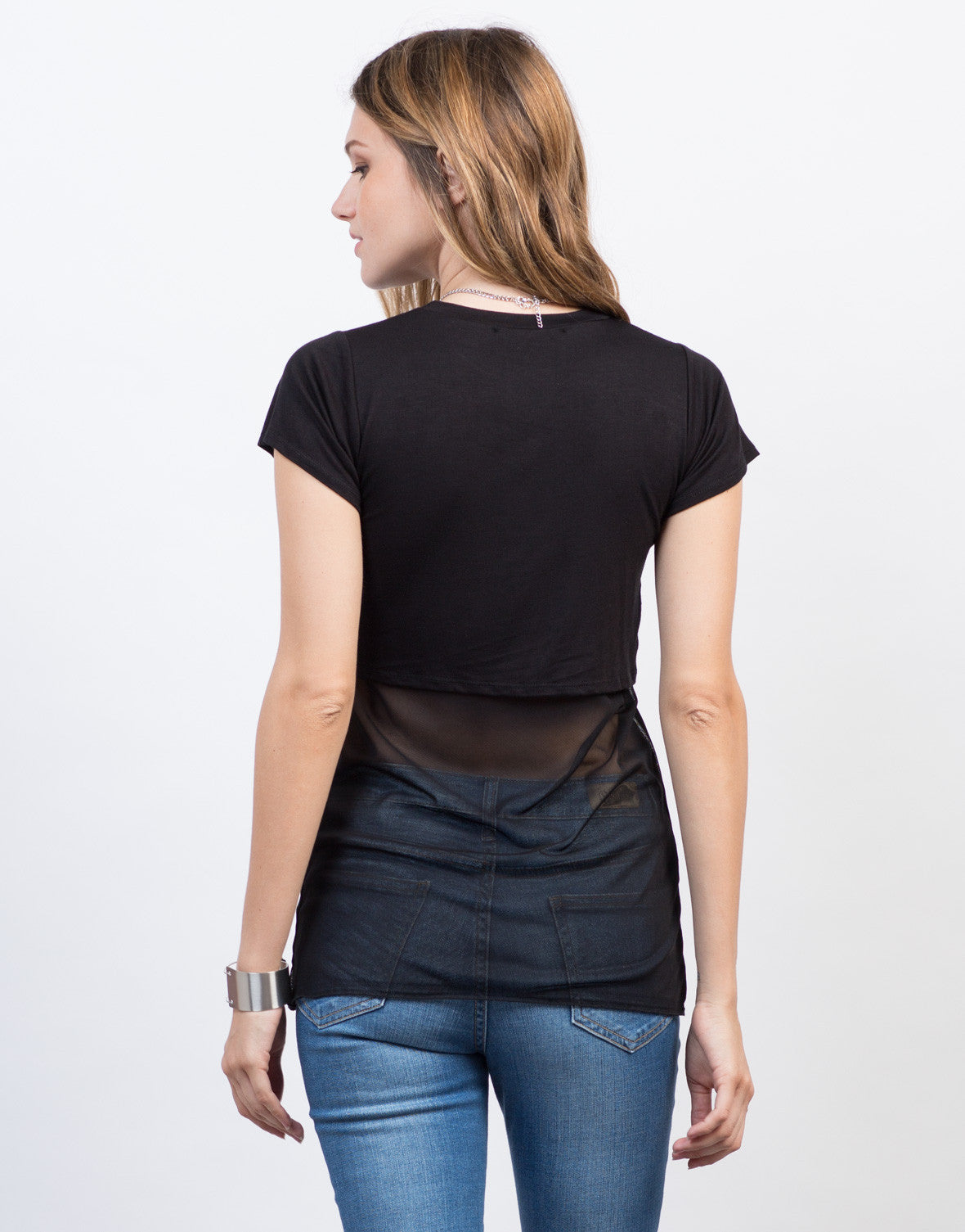 Back View of Peekaboo Mesh Top