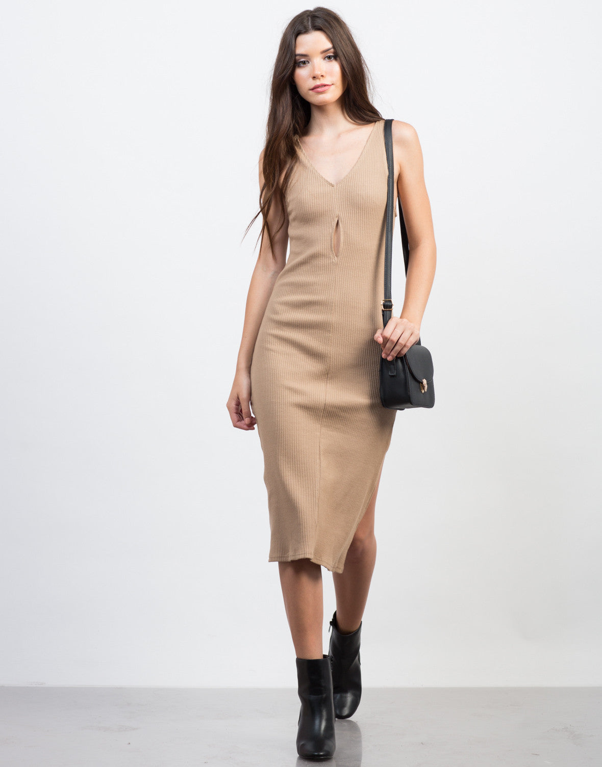 Front View of Peekaboo Midi Dress