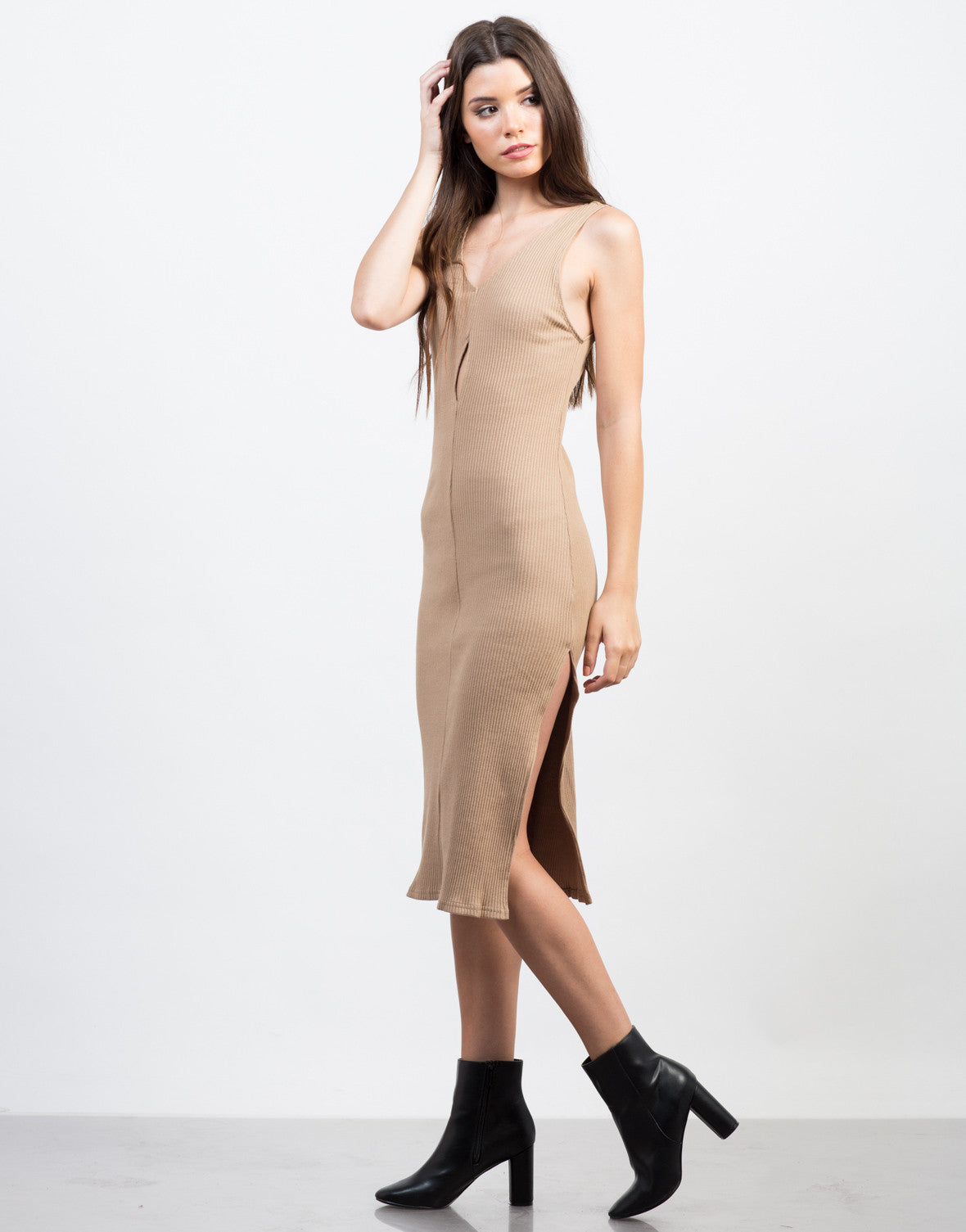 Side View of Peekaboo Midi Dress