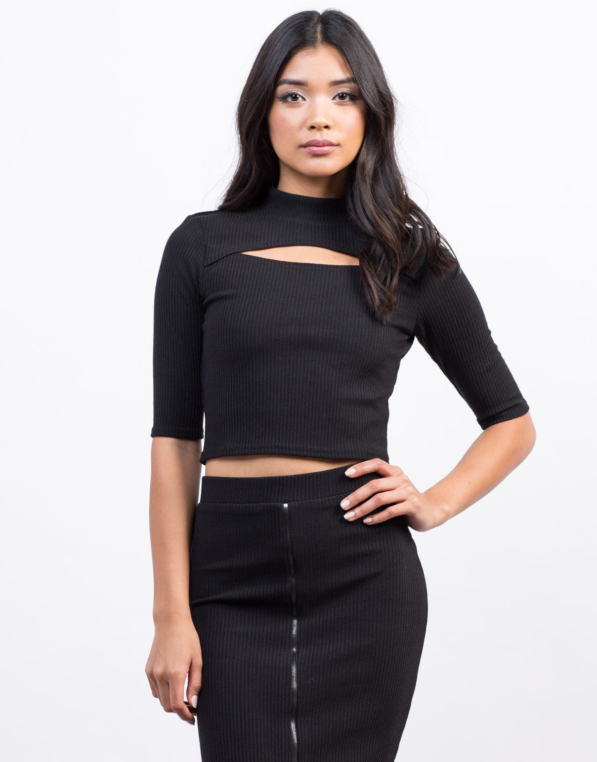Front View of Peekaboo Ribbed Crop Top