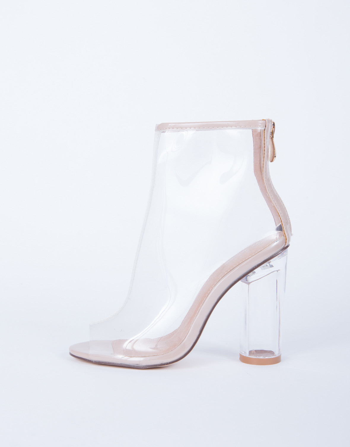 Peep Toe Clear Heel Boots - Clear Ankle Booties - Clear Lucite Heels ...