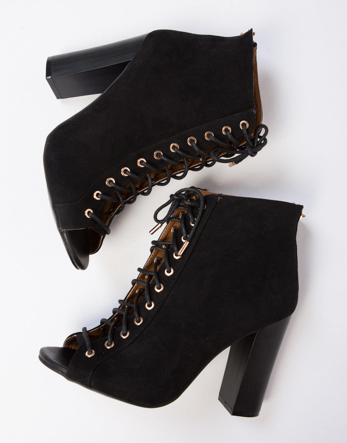 Peep Toe Lace-Up Booties - 2020AVE