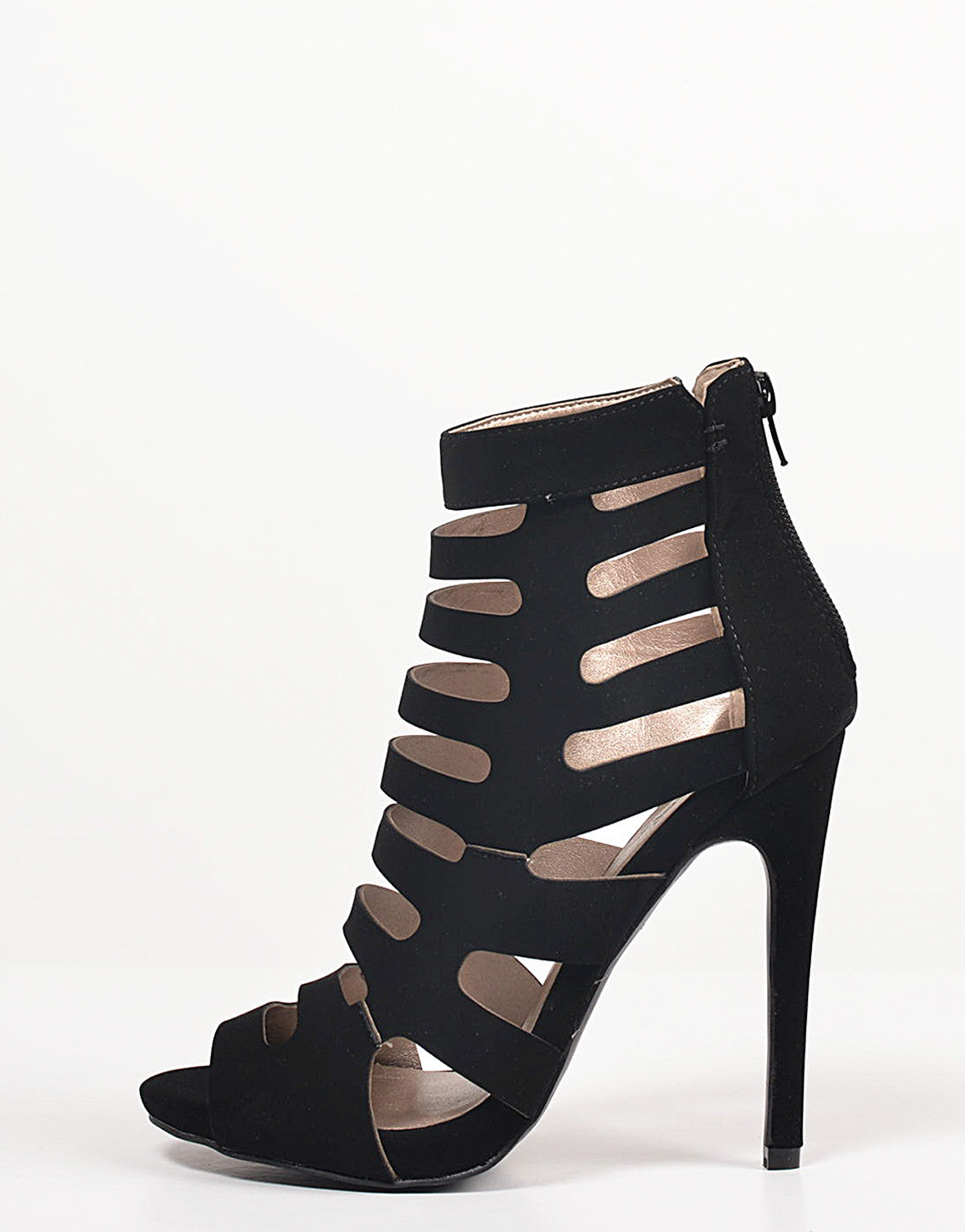 Peep Toe Caged Heels