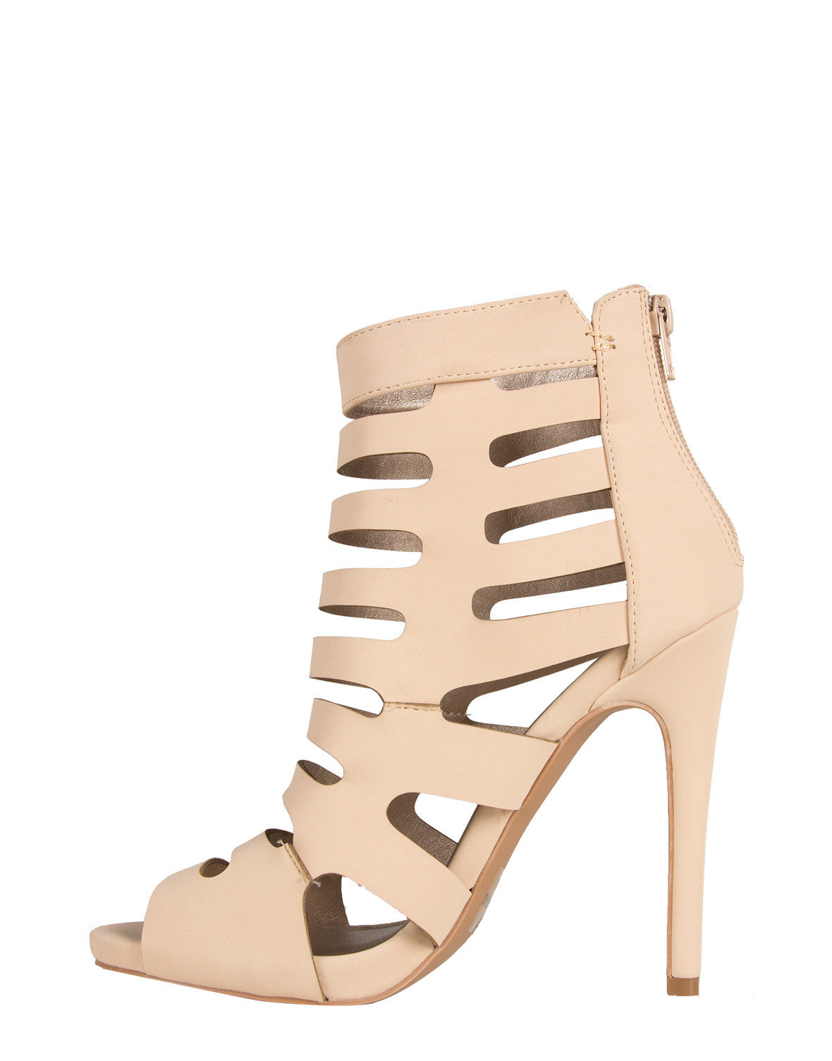 Peep Toe Caged Heels Qupid Glee-16 nude