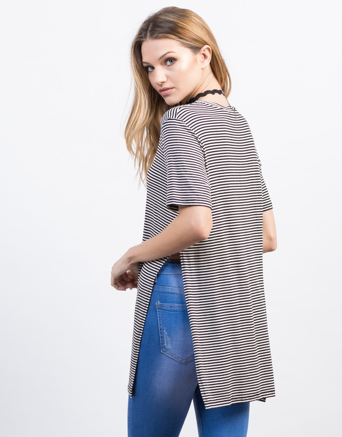 Back View of Pencil Striped Split Sides Tunic