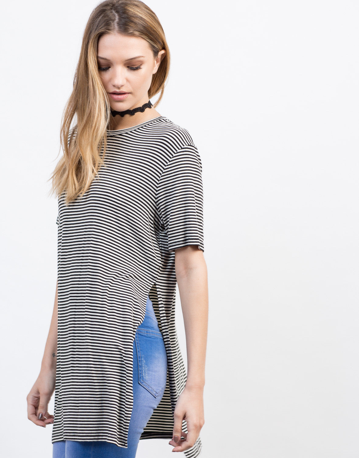 Pencil Striped Split Sides Tunic
