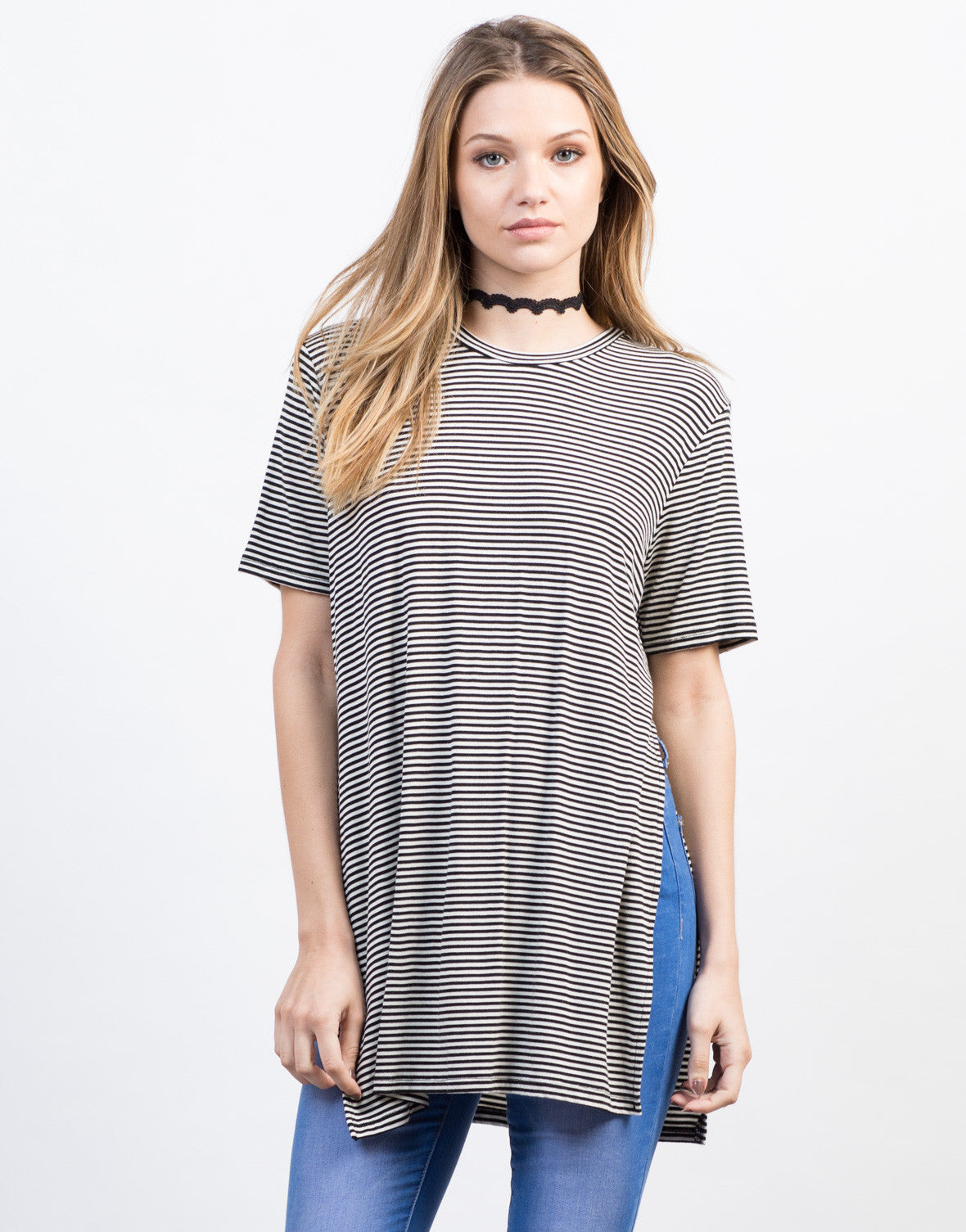 Front View of Pencil Striped Split Sides Tunic
