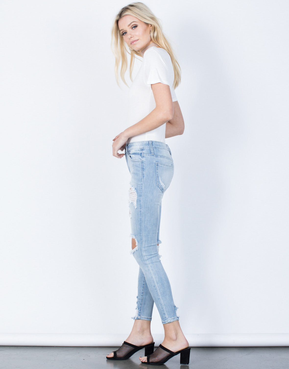 Side View of Perfect Fit Skinny Jeans