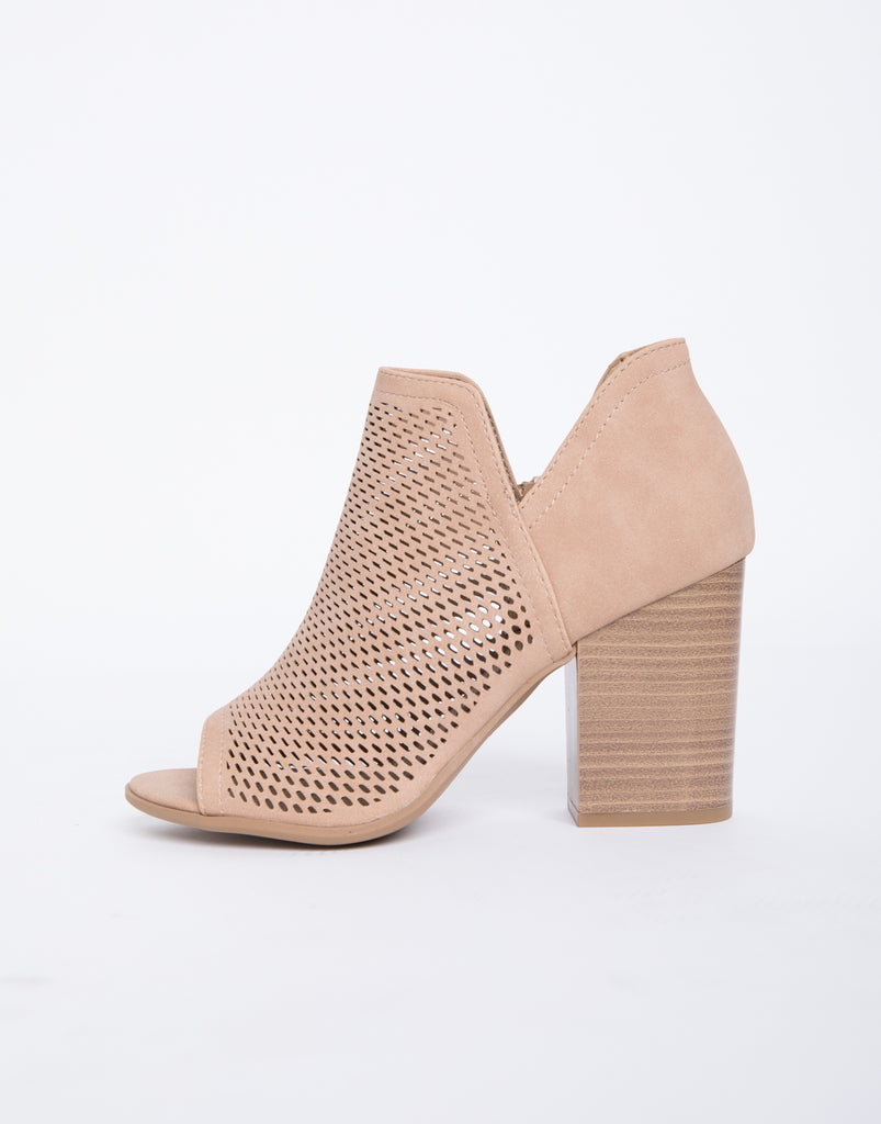 Perforated Booties Shoes Tan 5.5 -2020AVE
