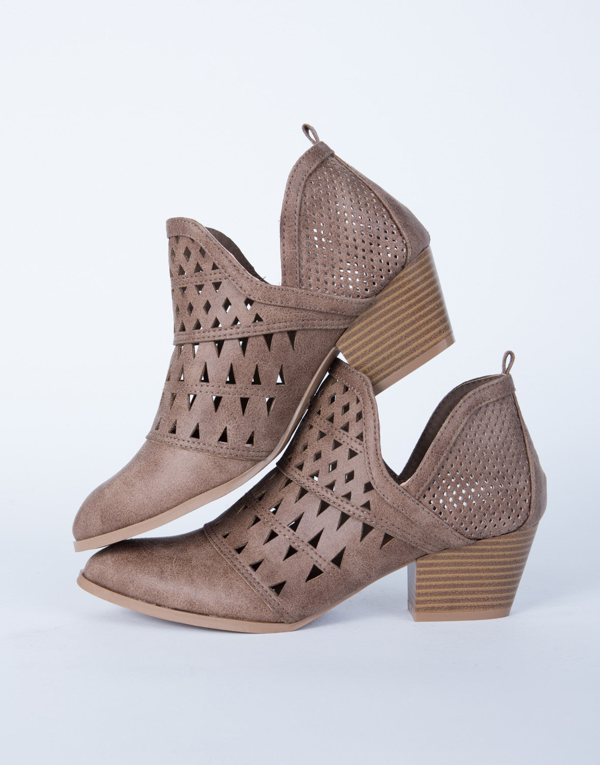 Perforated Cut Out Booties Brown Ankle Booties Low Cut