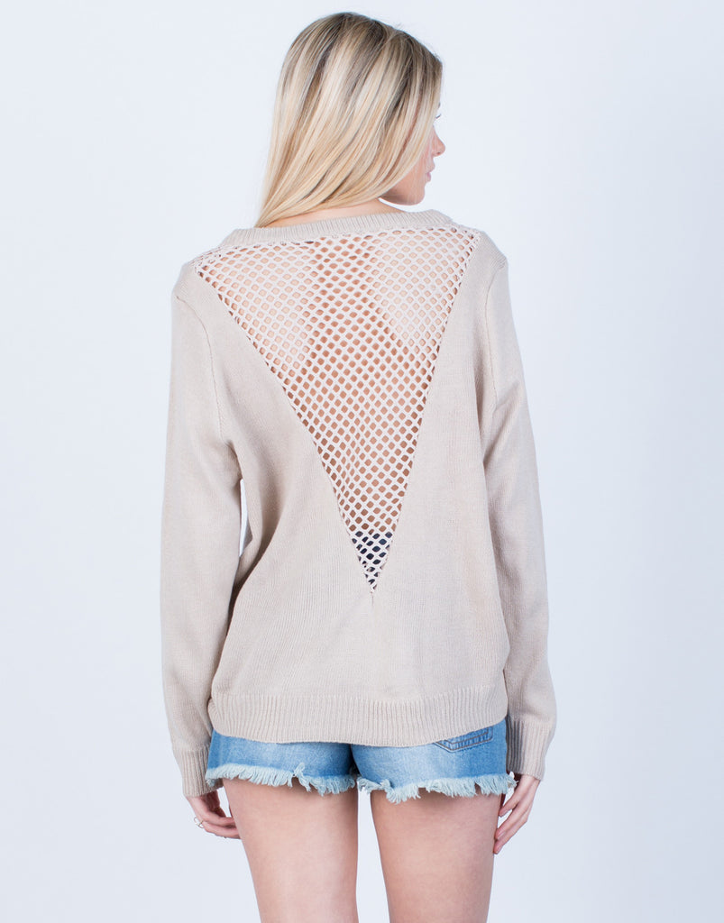 Back View of Perforated Knit Sweater Top