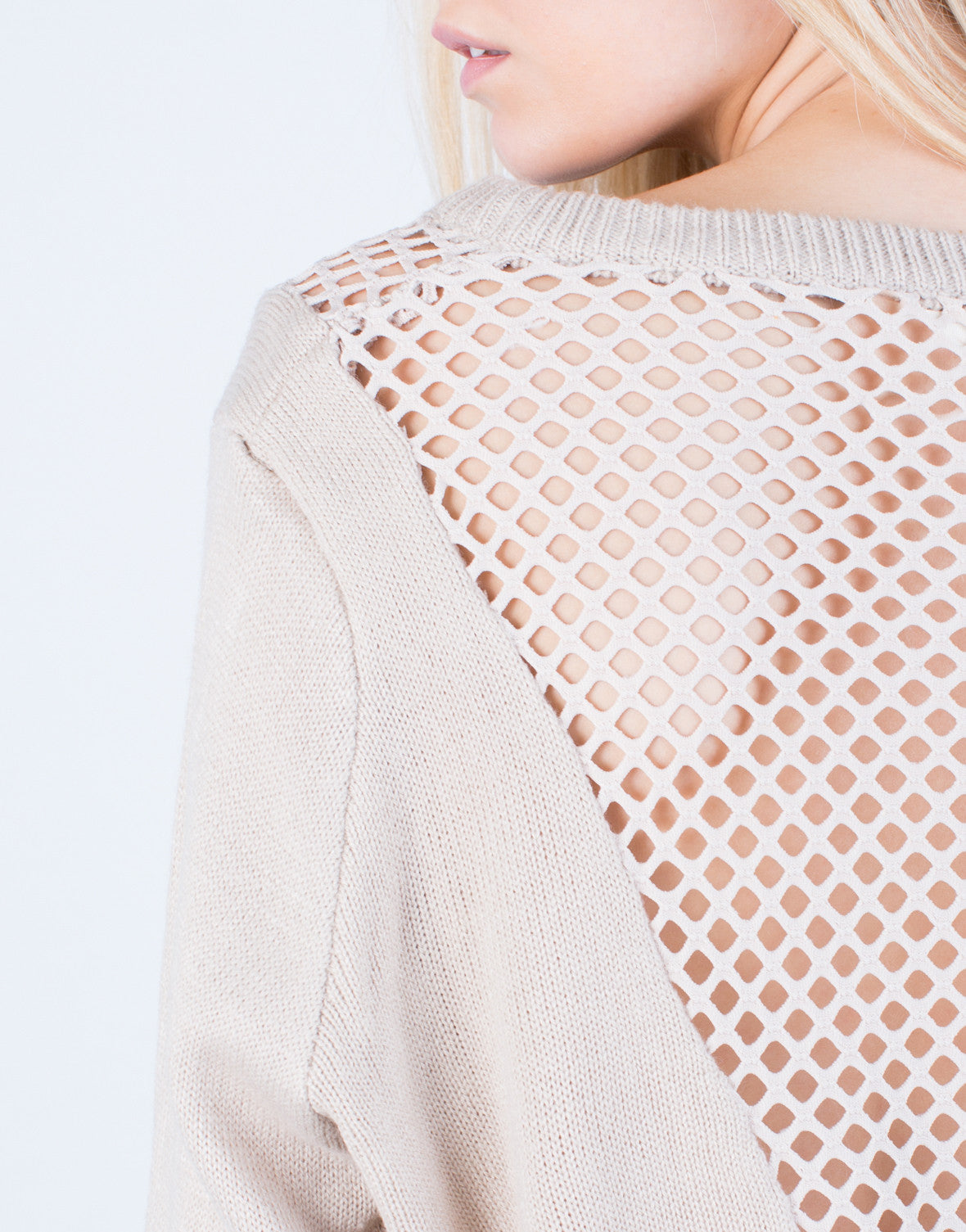 Detail of Perforated Knit Sweater Top