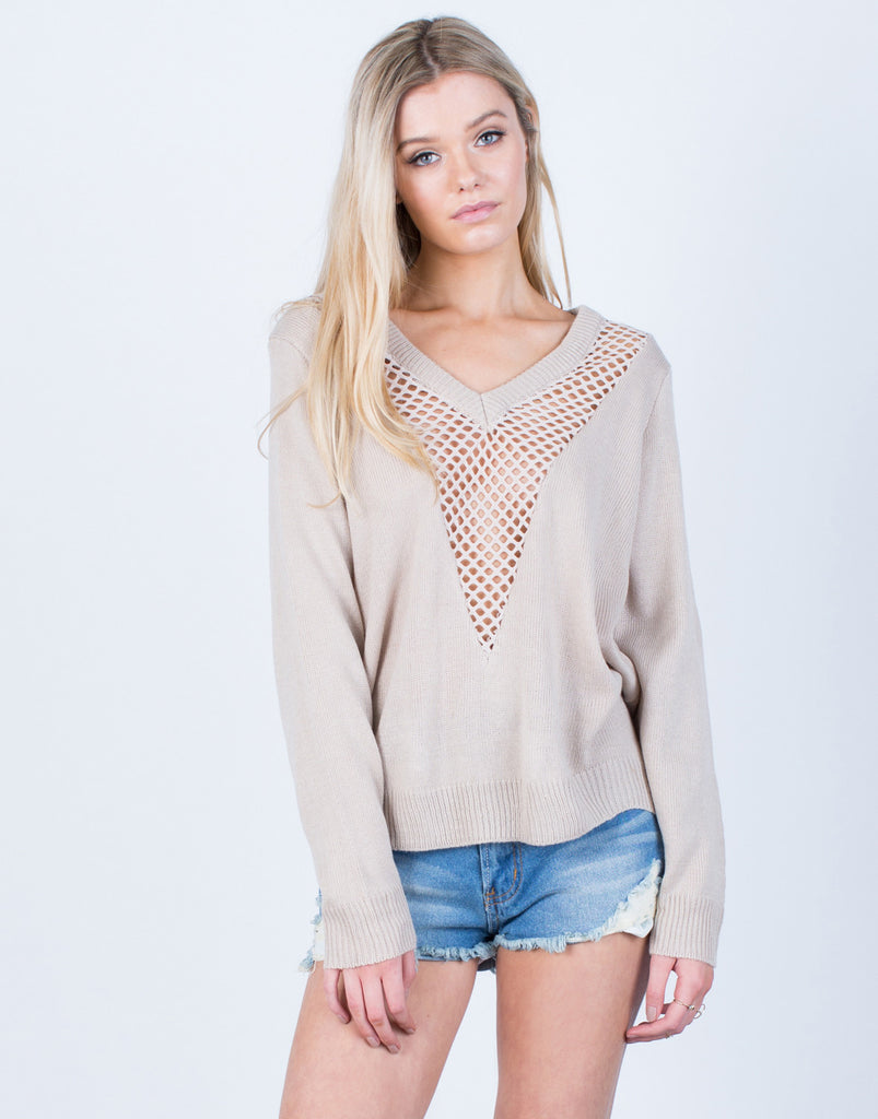 Front View of Perforated Knit Sweater Top