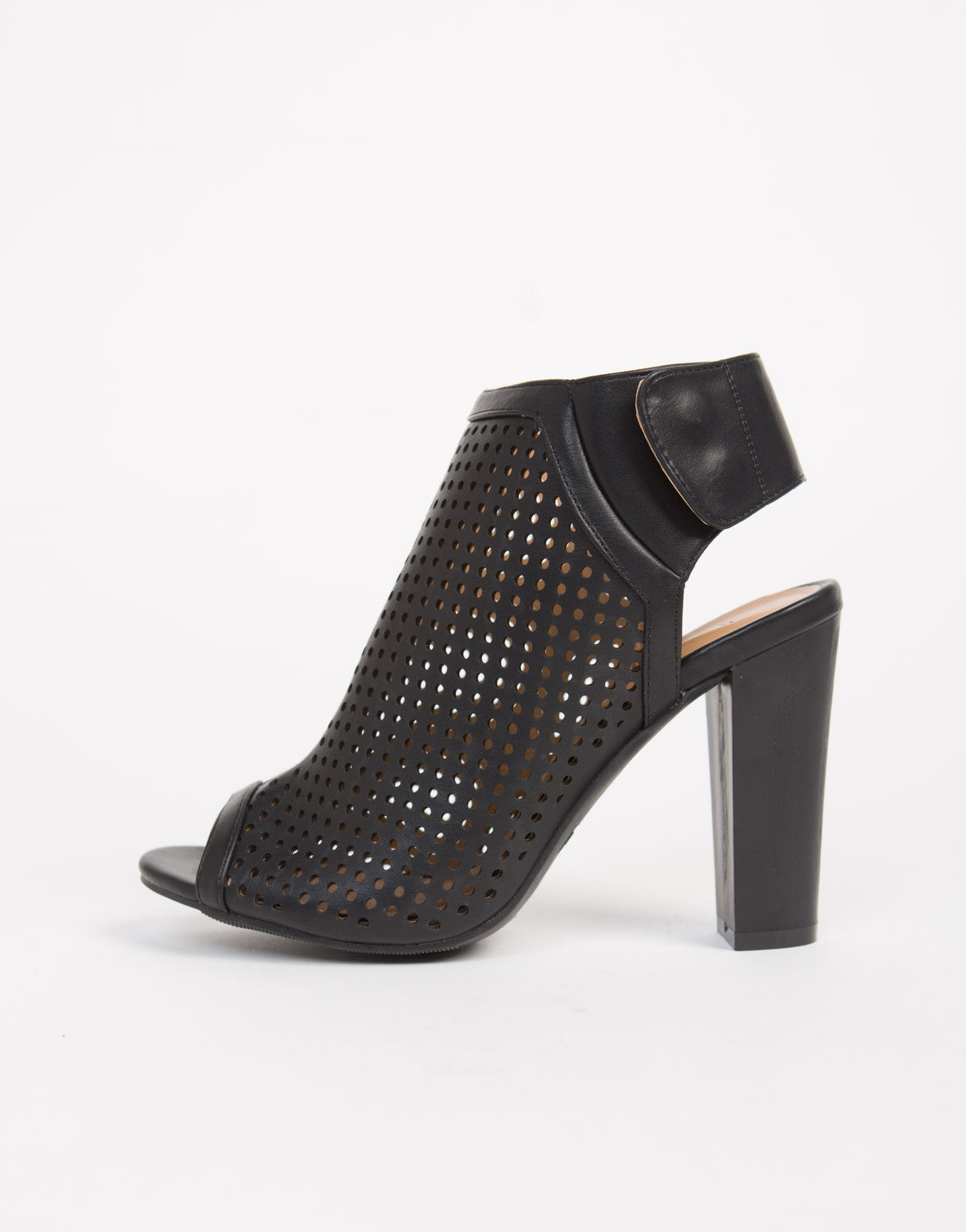 Perforated Peep Toe Mule Heels